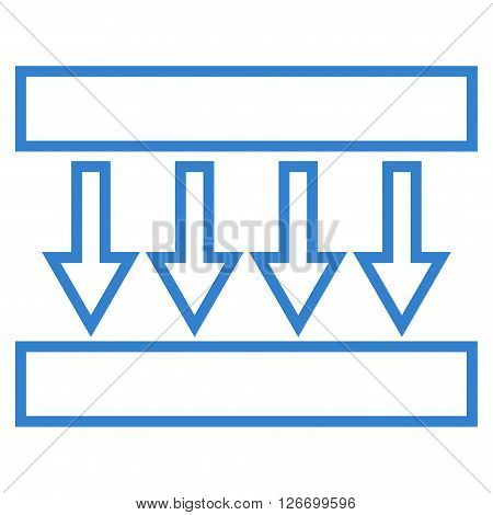 Pressure Vertical vector icon. Style is contour icon symbol, cobalt color, white background.