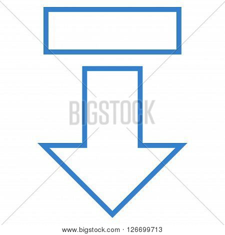Pull Arrow Down vector icon. Style is thin line icon symbol, cobalt color, white background.