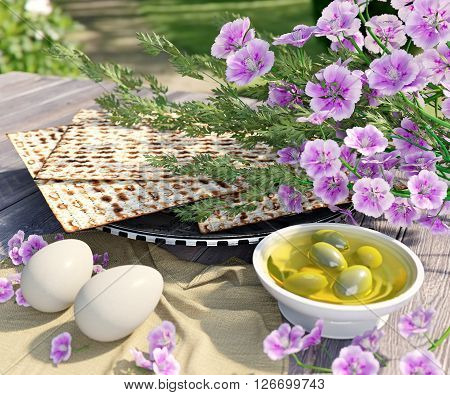 Jewish celebrate pesach passover with eggs,olive, matzo and flowers on nature background