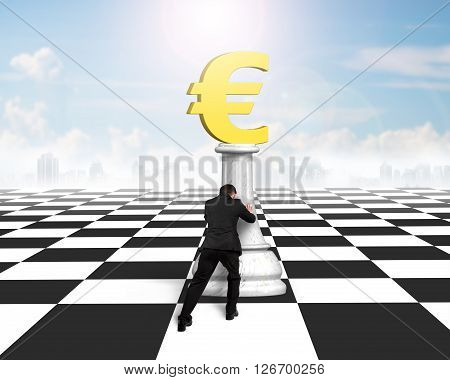 Man Pushing Money Chess Of Golden Euro Currency