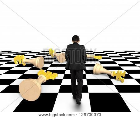 Lying Money Chess With Businessman Walking