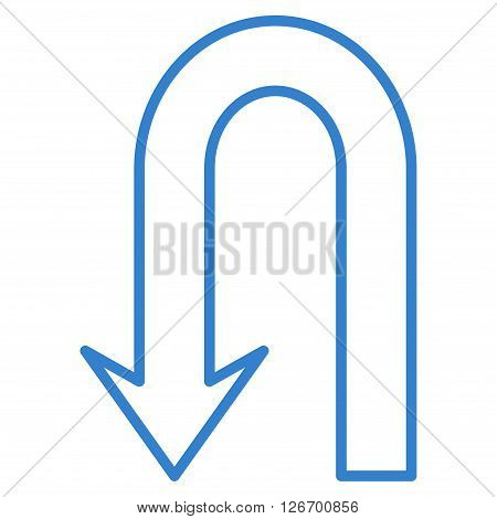 Return Arrow vector icon. Style is thin line icon symbol, cobalt color, white background.