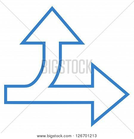 Split Direction Right Forward vector icon. Style is thin line icon symbol, cobalt color, white background.