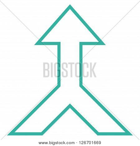 Combine Arrow Up vector icon. Style is stroke icon symbol, cyan color, white background.