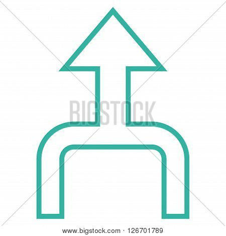 Combine Arrow Up vector icon. Style is thin line icon symbol, cyan color, white background.