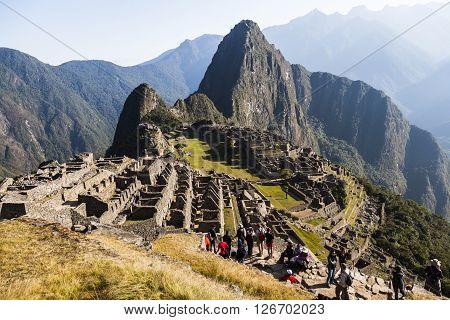 MACHU PICCHU PERU AUGUST 12: Machu Picchu was designed Peruvian Historical Sanctuary in 1981 and a World Heritage Site by UNESCO in 1983 Machu Picchu Peru August 12 2012.