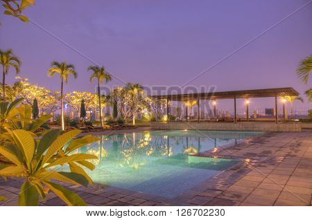 Poolside At Night In Jakarta Indonesia