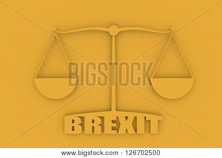 United Kingdom exit from europe relative image. Brexit named politic process. Scales balance yes or no. 3D rendering