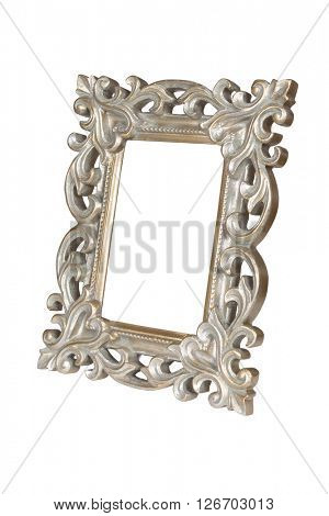Silver gold carved picture frame isolated over white with clipping path.