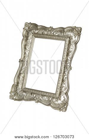 Champagne carved picture frame isolated over white with clipping path.