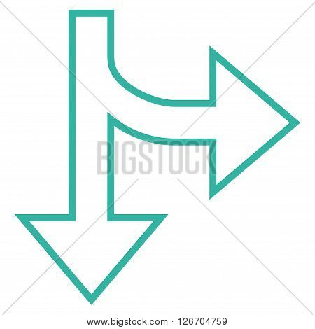 Split Direction Right Down vector icon. Style is contour icon symbol, cyan color, white background.