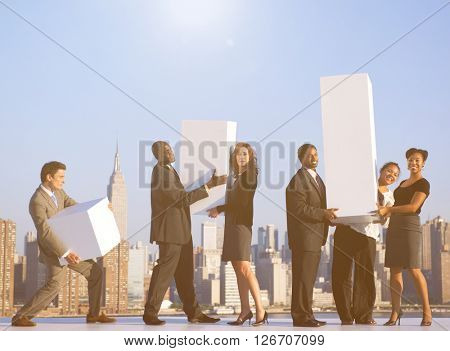 A group of office workers in New York Concept