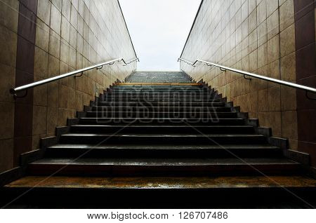 Staircase in underground passage. crosswalk. Moscow Russia