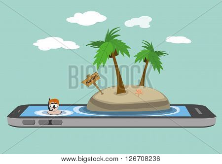 man snorkeling on the sea tropical islands beach on smartphone mobile screen. summer vacation concept