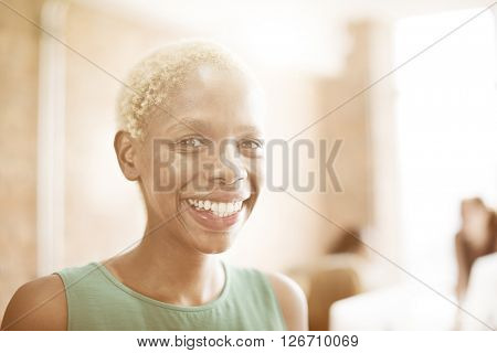 African Woman Happiness Smiling Cheerful Optimistic Concept