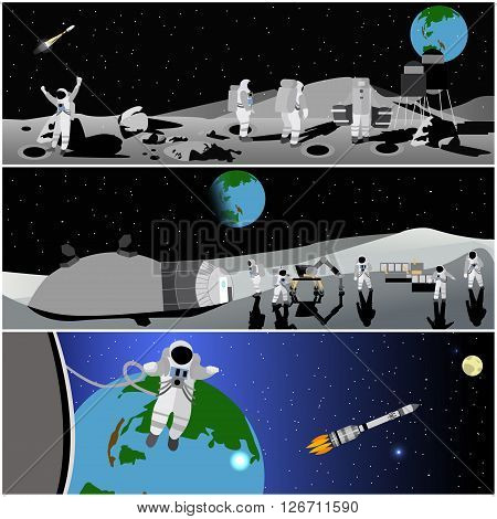 Moon space station vector illustration. Astronaut in outerspace.