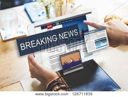 Breaking News Media Announcement Social Concept