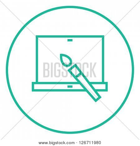 Laptop and brush line icon.