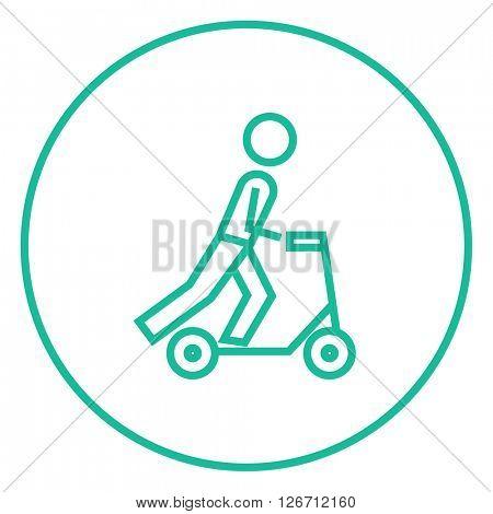 Man riding kick scooter line icon.