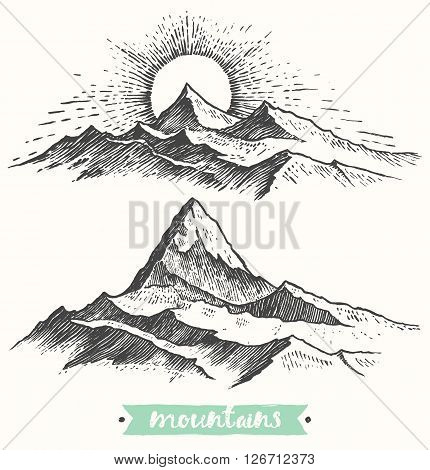 Sketch of a mountains, sunrise in mountains, engraving style, hand drawn vector illustration