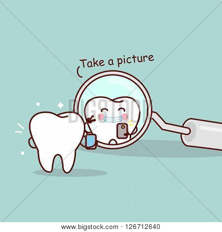 cute cartoon tooth take a picture in the dental mirror great for health dental care concept