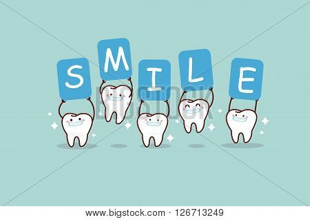 cartoon white tooth smiling and holding billboards great for dental care concept