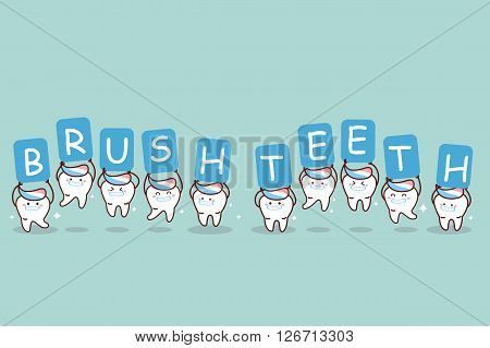 cartoon tooth with toothpaste holding billboards great for dental care and brush teeth concept