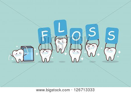 cartoon tooth with floss holding billboards great for dental care concept