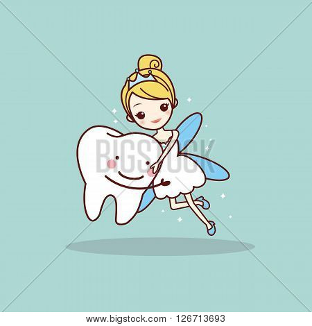 cartoon tooth with tooth fairy great for dental care concept