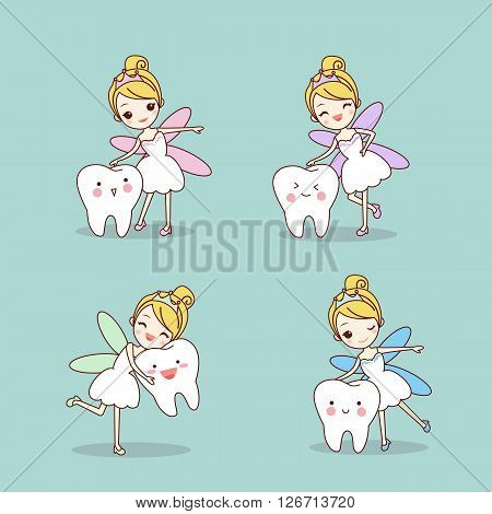 cartoon tooth with tooth fairy set great for dental care concept