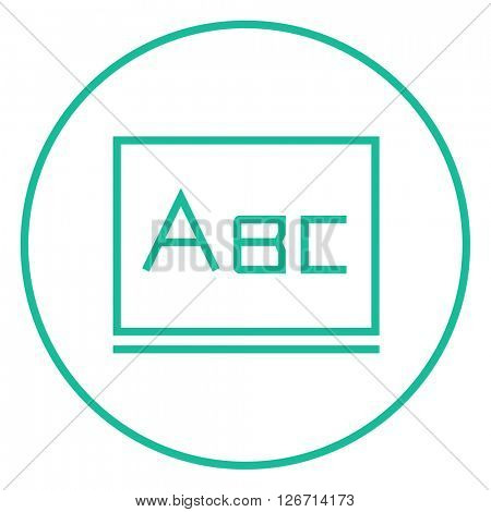 Letters abc on blackboard line icon.