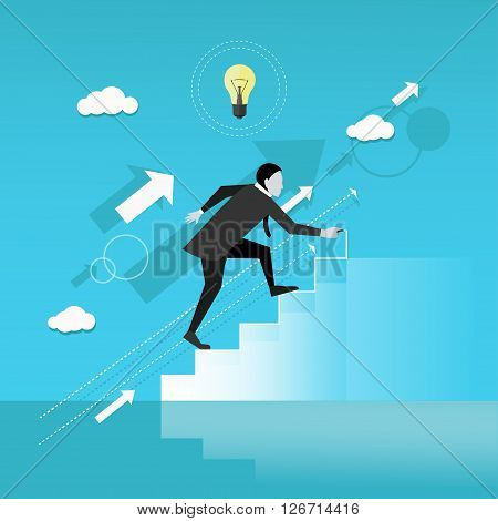 Businessman draws stairs and walking up. Business concept vector illustration. Reaching goal. Growth to success.