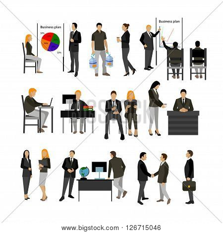 Office workers vector set. People icons isolated on white background.