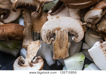 Cut Mushrooms With Onion.