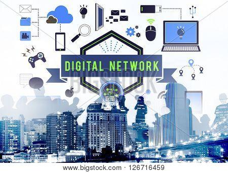 Digital Network Computer Connection Server LAN Concept