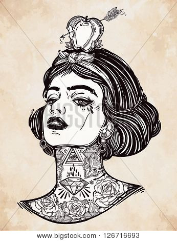 Adult coloring book page with the face of young tattooed girl with apple and arrow. Coloring book page for adults. Female portriat in flash tattoo style. Isolated vector illustration in street style.