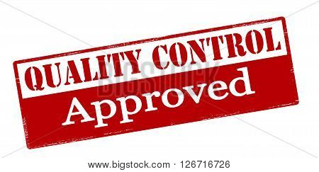 Rubber stamp with text quality control approved inside vector illustration