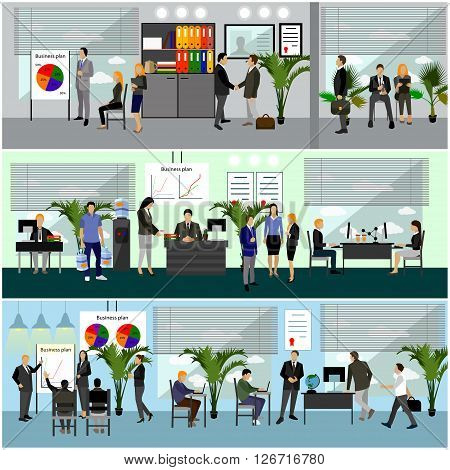 Flat design of business people or office workers. People talking and working with computers. Business presentation and meeting. Office interior.