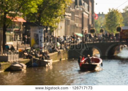 View Of Canals On Sunny Day In Amsterdam