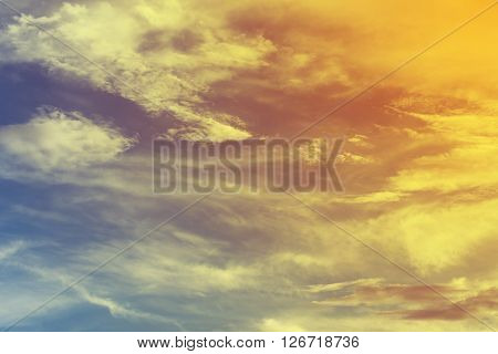 Colorful Sky Background With Cloud, Sun Rays Of Global Warming, Solar Of Clean Energy Power