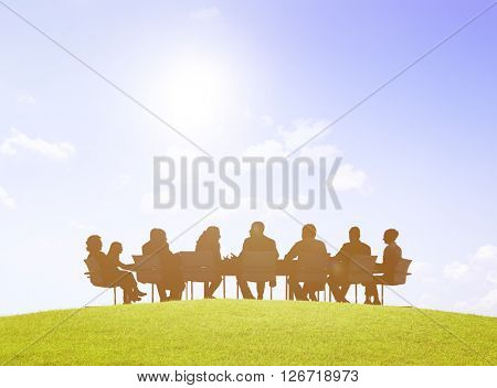 Green Business People Discussion Communication Outdoors Meeting Concept