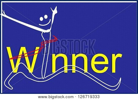 The painting depicts a running winner with a red ribbon. Winner