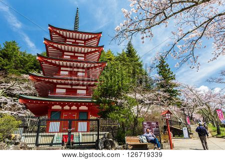 Tokyo Japan - April 11 2016: Chureito Pagoda in Arakura Sengen Shrine area is viewpoint of Mount Fuji in combination with cherry blossoms and autumn colors popular.
