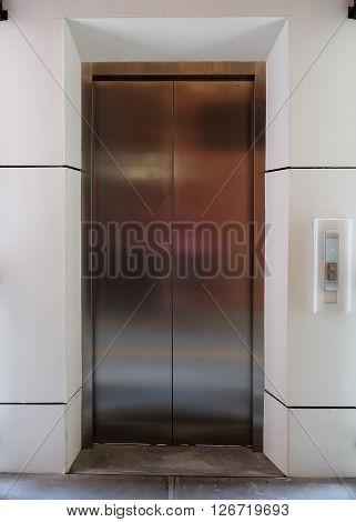 Modern Metal Elevator Close Door In Building Office
