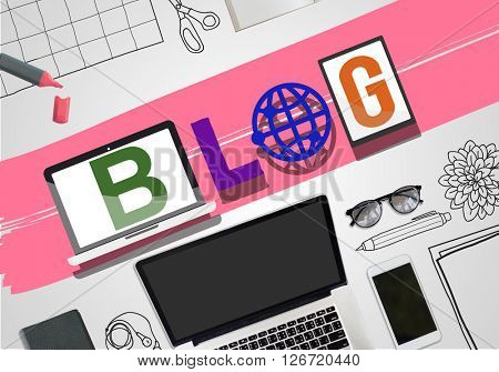 Blog Social Media Article Word Style Concept
