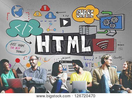HTML Connection Links Digital Communication Concept