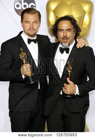 Leonardo DiCaprio and Alejandro G. Inarritu at the 88th Annual Academy Awards - Press Room held at the Loews Hotel in Hollywood, USA on February 28, 2016.