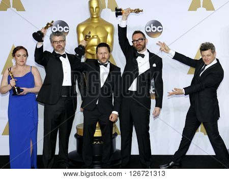 Mark Williams Ardington, Paul Norris, Sara Bennett, Andrew Whitehurst and Andy Serkis at the 88th Annual Academy Awards - Press Room held at the Loews Hotel in Hollywood, USA on February 28, 2016.