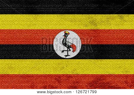 Uganda flag with some soft highlights and folds