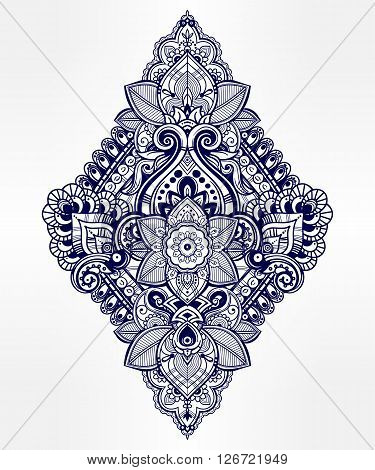 Beautiful Bohemian floral paisley ornament. Folk henna tattoo style. Vector ethnic ornamental Lotus flower, Indian paisley. Hand drawn illustration. Invitation element. Tattoo, boho and magic symbol.